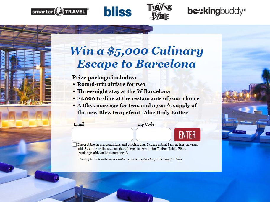 Tasting Table Barcelona or Bust 2013 Sweepstakes