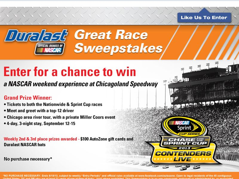 Duralast Great Race Sweepstakes