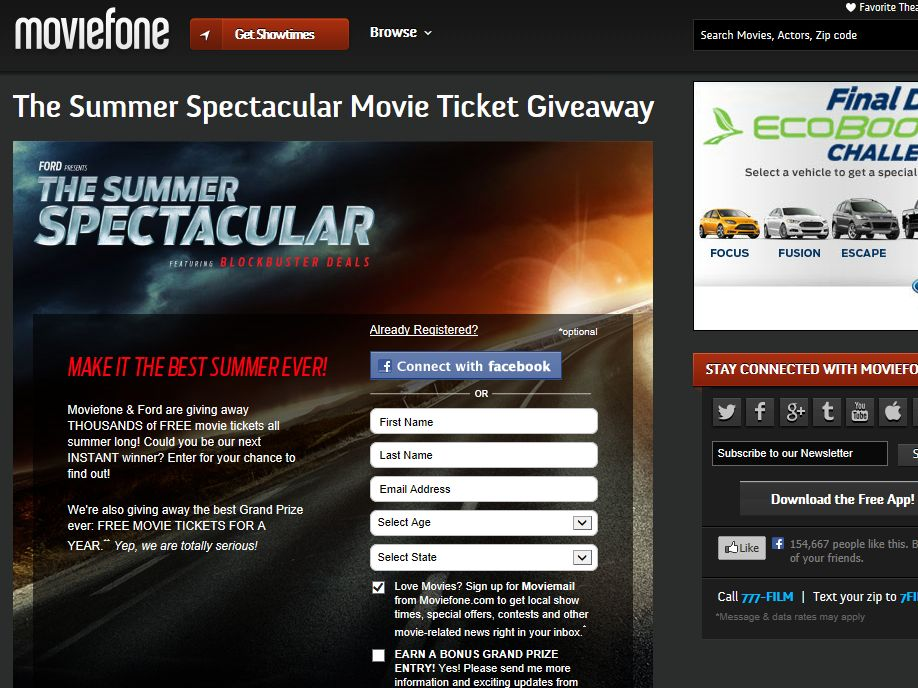 Summer Spectacular Movie Ticket Giveaway