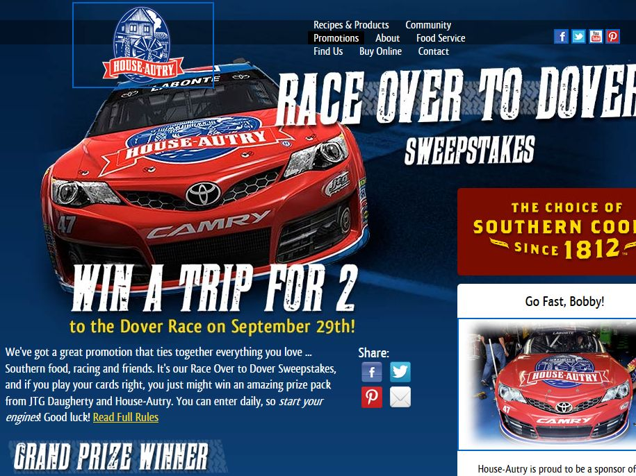 """House-Autry """"Race Over to Dover"""" Sweepstakes"""