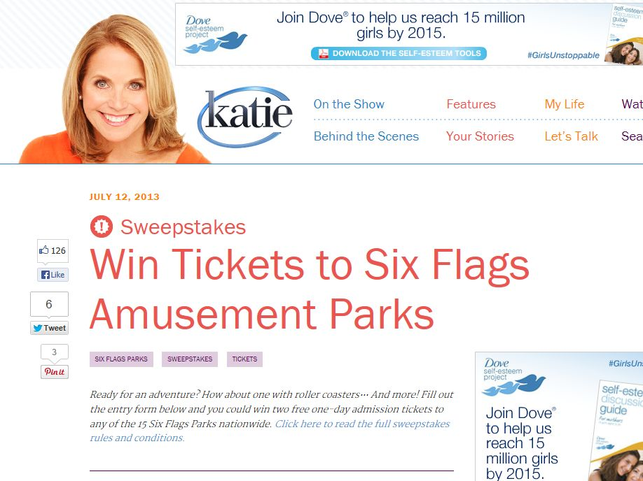 Win Tickets to Six Flags Amusement Parks Sweepstakes