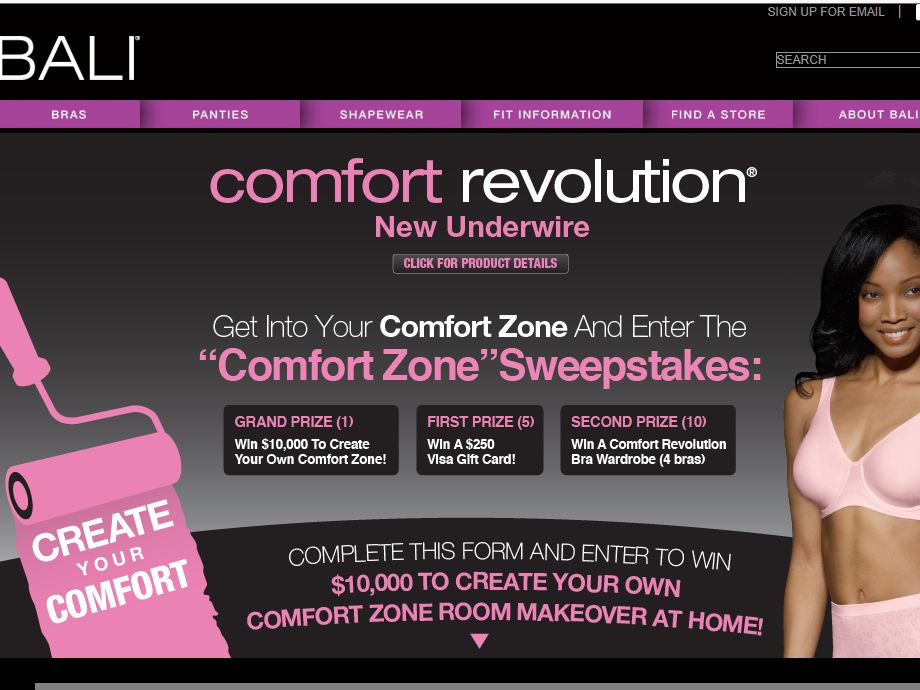 Bali Comfort Zone Sweepstakes - Females Only