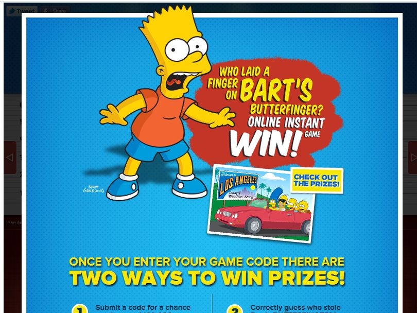 Who Laid a Finger on Bart's Butterfinger Sweepstakes