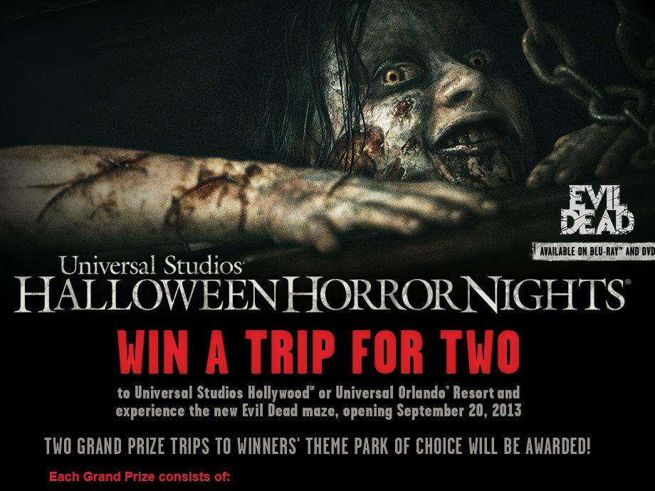 Universal Studios Halloween Horror Nights Evil Dead Sweepstakes