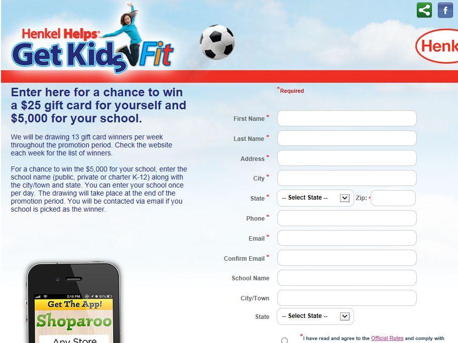 Henkel Helps Get Kids Fit Sweepstakes