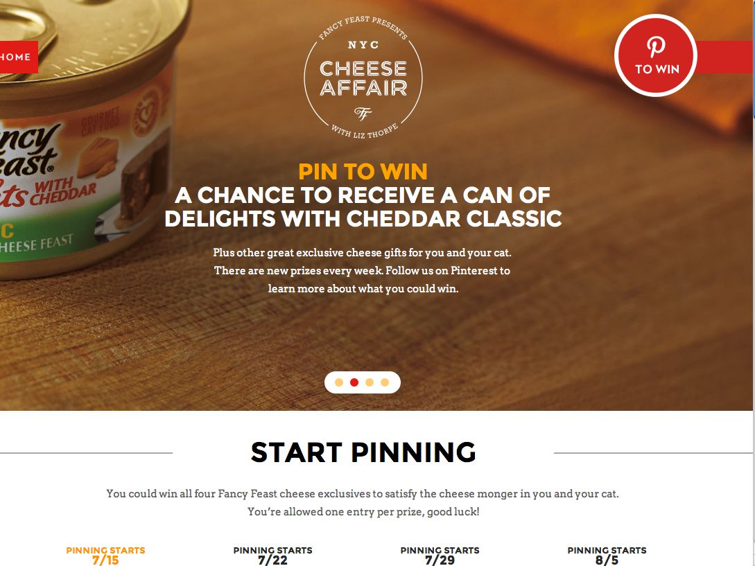 Fancy Feast – Cheese Affair Pin To Win Sweepstakes