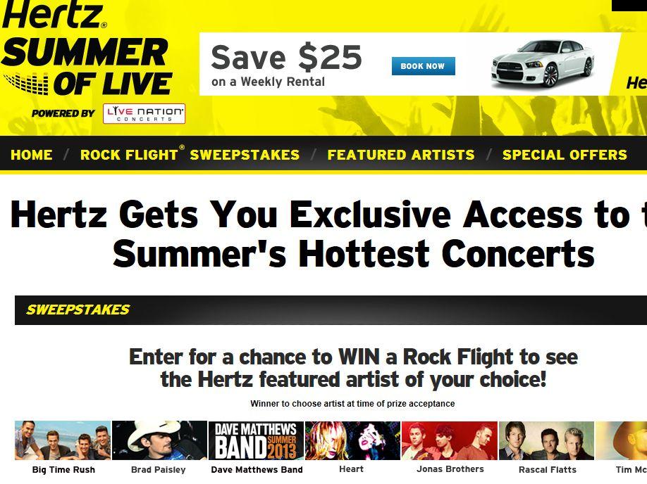 Hertz Summer of Live Rock Flight Sweepstakes