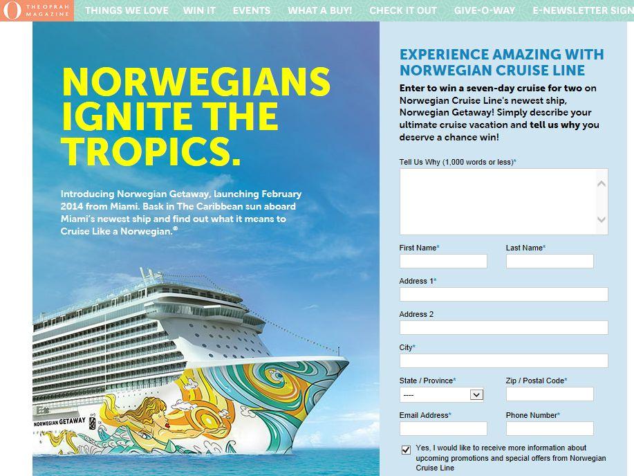 Norwegian Cruise Line Summer Getaway Contest