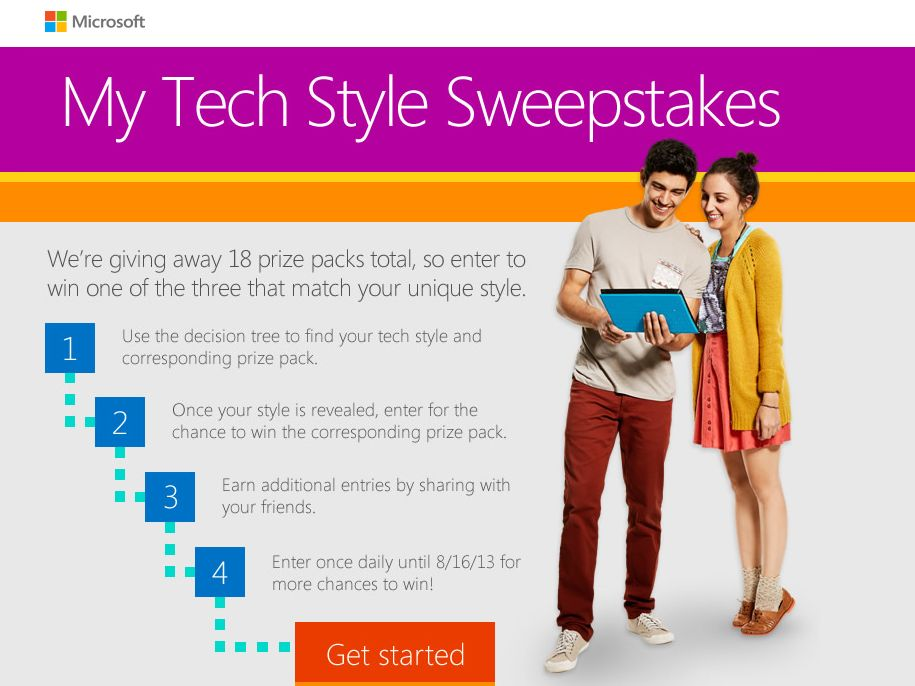 """Microsoft Store Online """"My Tech Style"""" Sweepstakes"""