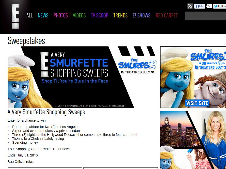 A Very Smurfette Shopping Sweepstakes