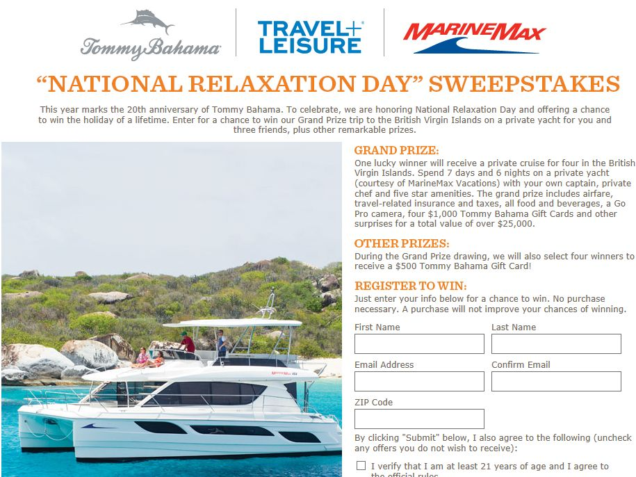 Tommy Bahama National Relaxation Day Sweepstakes