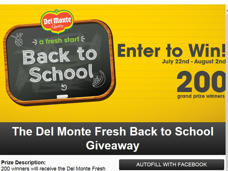 Del Monte Fresh Back to School Sweepstakes