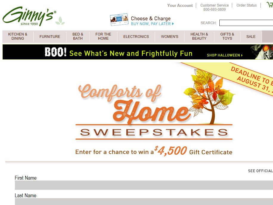 Ginny's Comforts of Home Sweepstakes