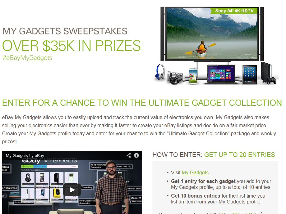 eBay My Gadgets Sweepstakes