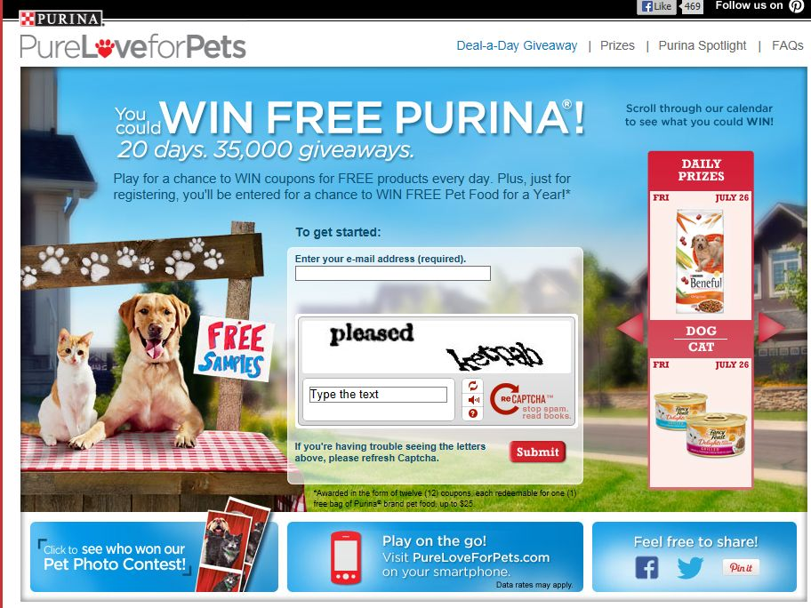 Purina Deal-A-Day Giveaway Instant Win Game