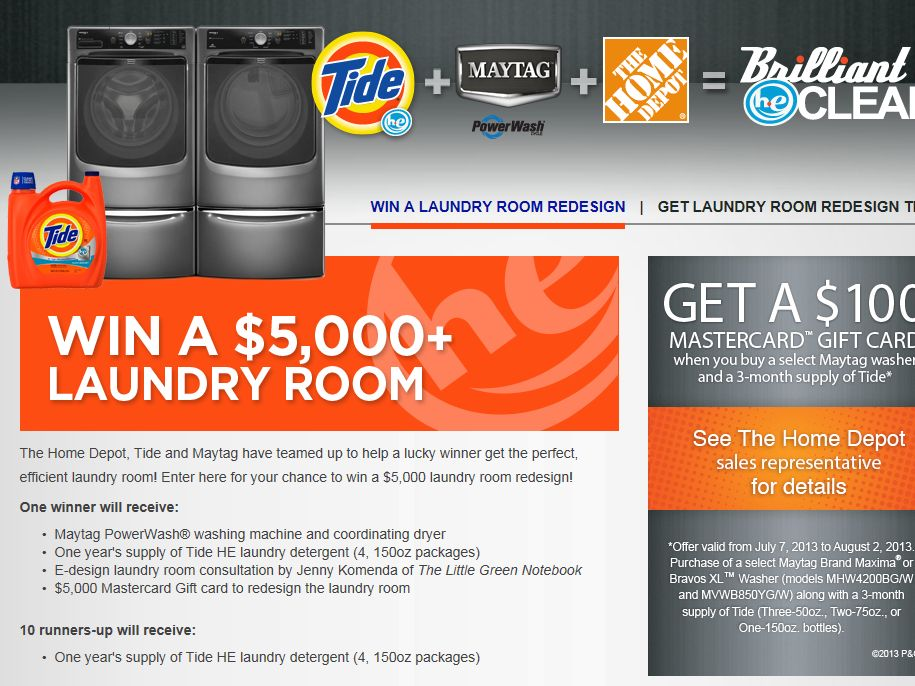 Home Depot: Maytag Tide Sweepstakes