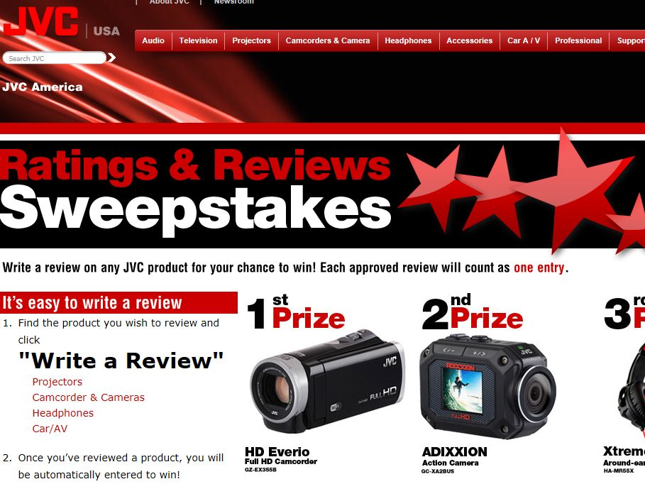 JVC Ratings & Reviews Sweepstakes