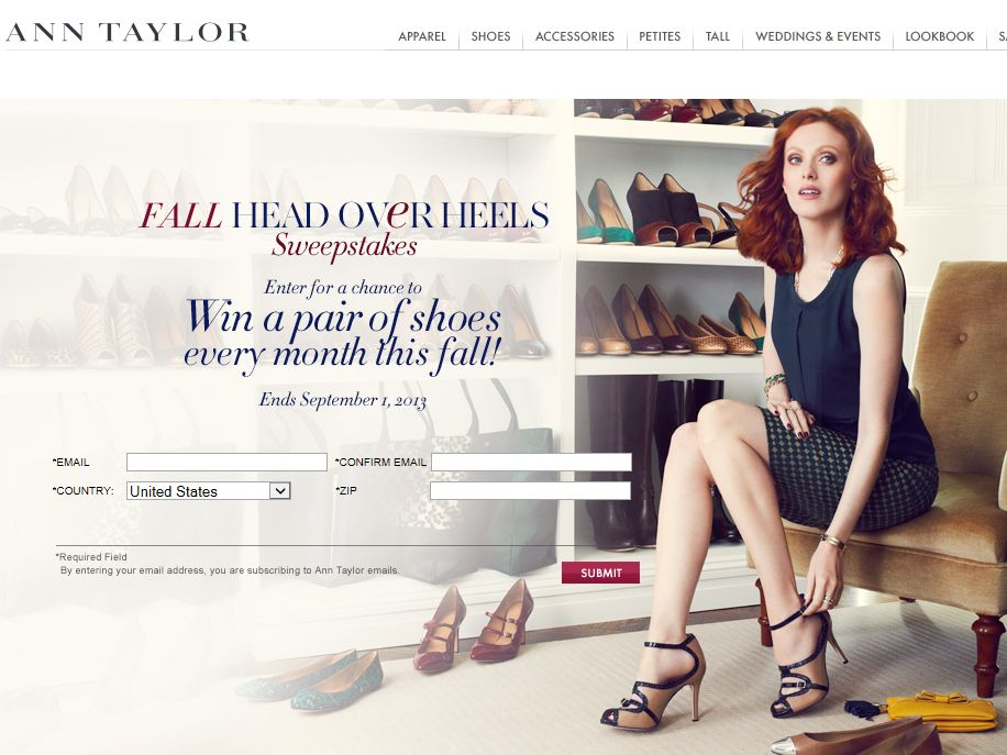 Ann Taylor Fall Head Over Heels Sweepstakes