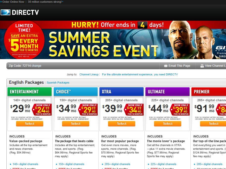 DIRECTV Summer Savings Event