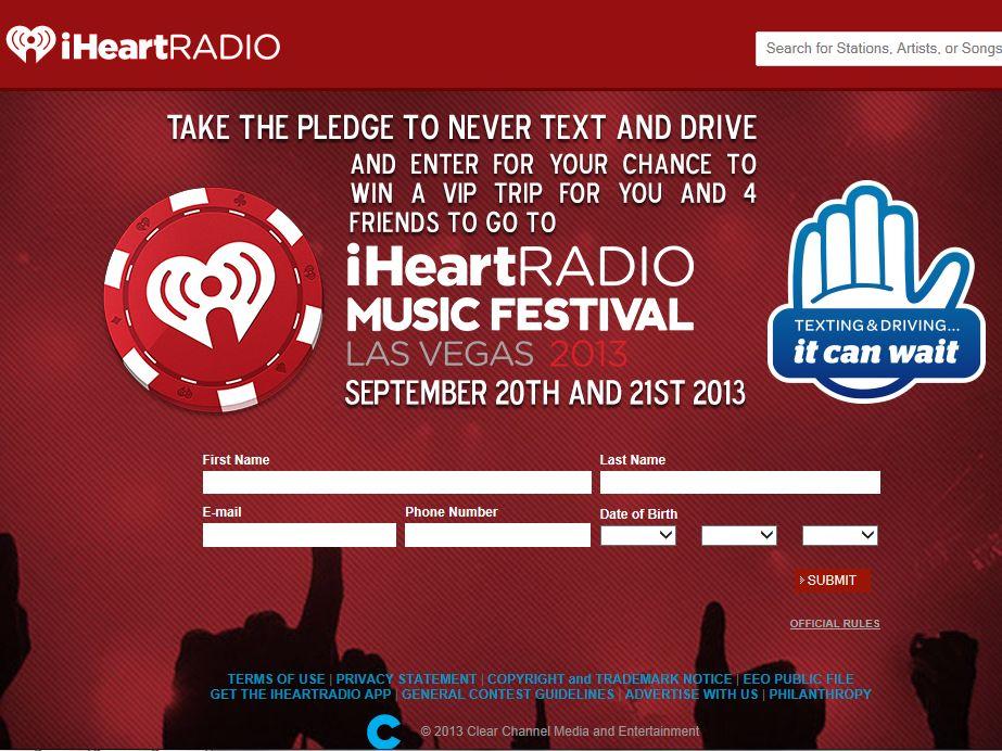 """It Can Wait"" 2013 iHeartRadio Music Festival Flyaway Sweepstakes"