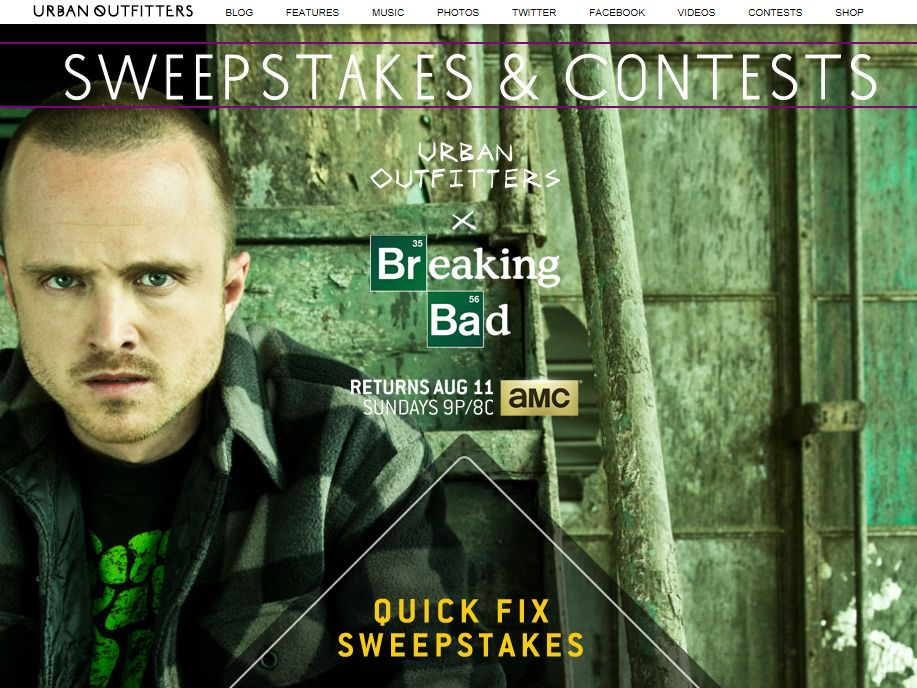 """Urban Outfitters® x Breaking Bad """"Quick Fix"""" Sweepstakes"""