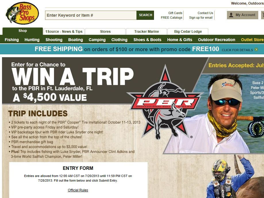 Bass Pro Shops VIP Trip to the PBR in Ft. Laudrdale Sweepstakes