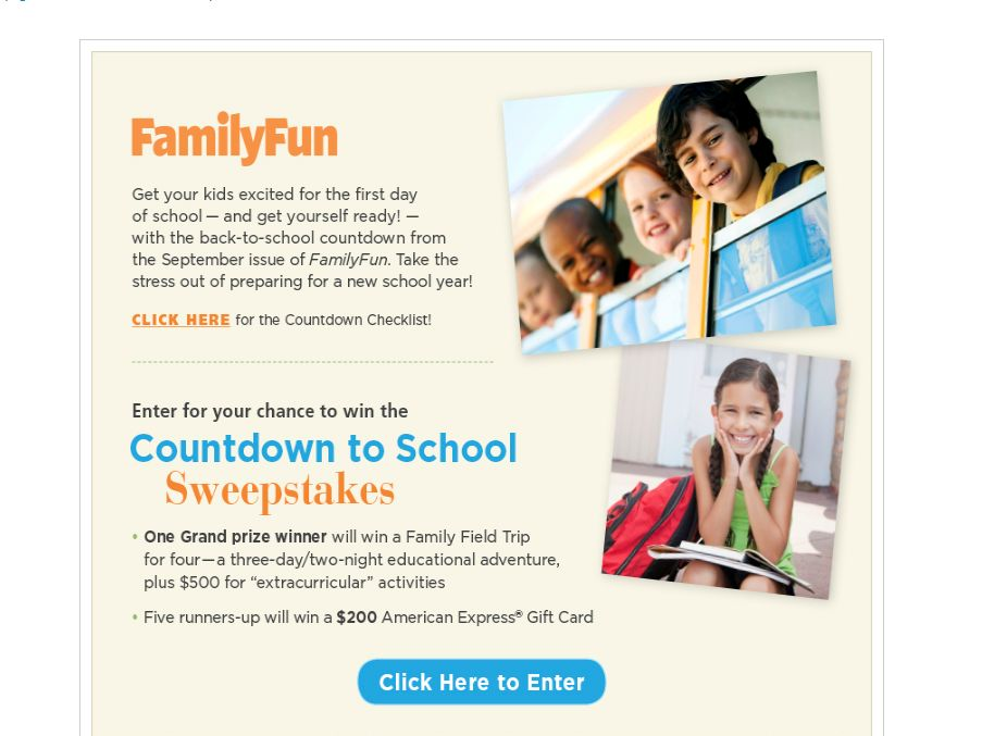 FamilyFun Countdown to School Sweepstakes