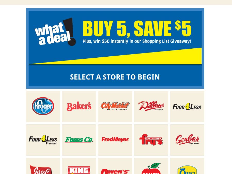 """Kroger Co. """"Win Your List"""" Sweepstakes"""