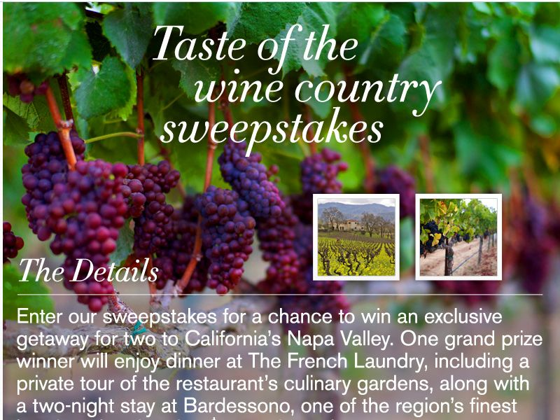 Taste of the Wine Country Sweepstakes