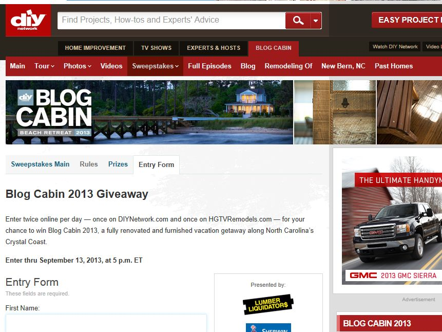 2013 DIY Network's Blog Cabin Sweepstakes