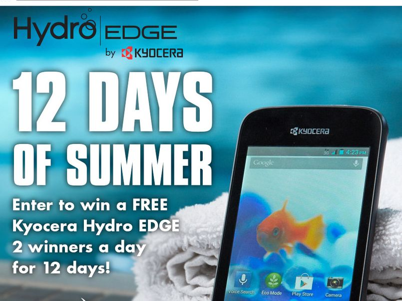 """Kyocera Hydro Edge """"Hydro 12 Days of Summer"""" Giveaway Sweepstakes"""