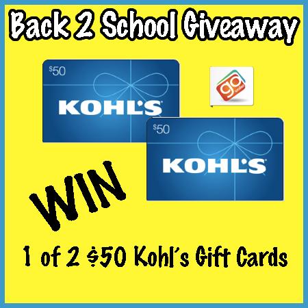 Back 2 School: $50 Kohl's GC 2 Winners 8/3