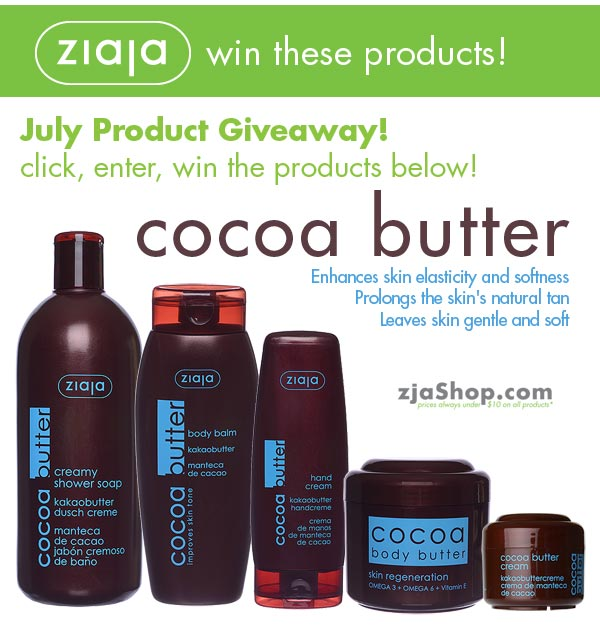Ziaja Skin Care – Cocoa Butter Line Giveaway