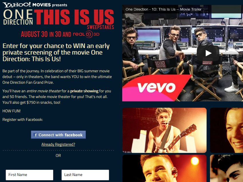 Yahoo! One Direction – This Is Us Sweepstakes