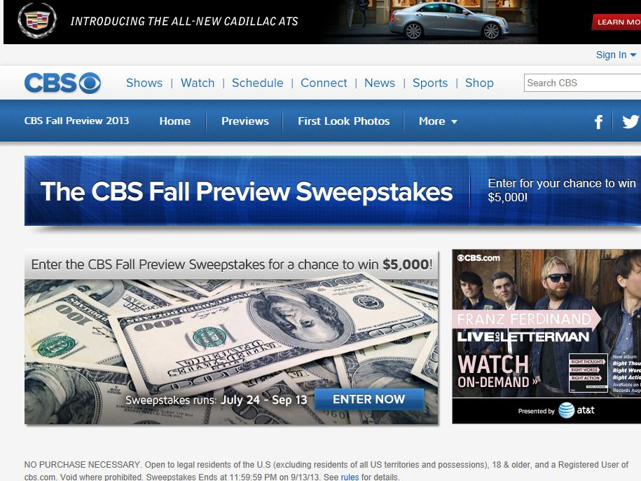 CBS Fall Preview 2013 Sweepstakes