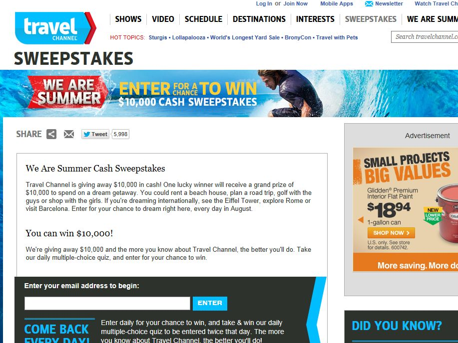 Travel Channel We Are Summer Sweepstakes
