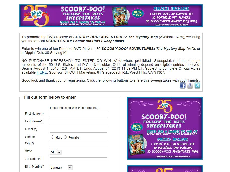 SCOOBY- DOO! Follow the Dots Sweepstakes