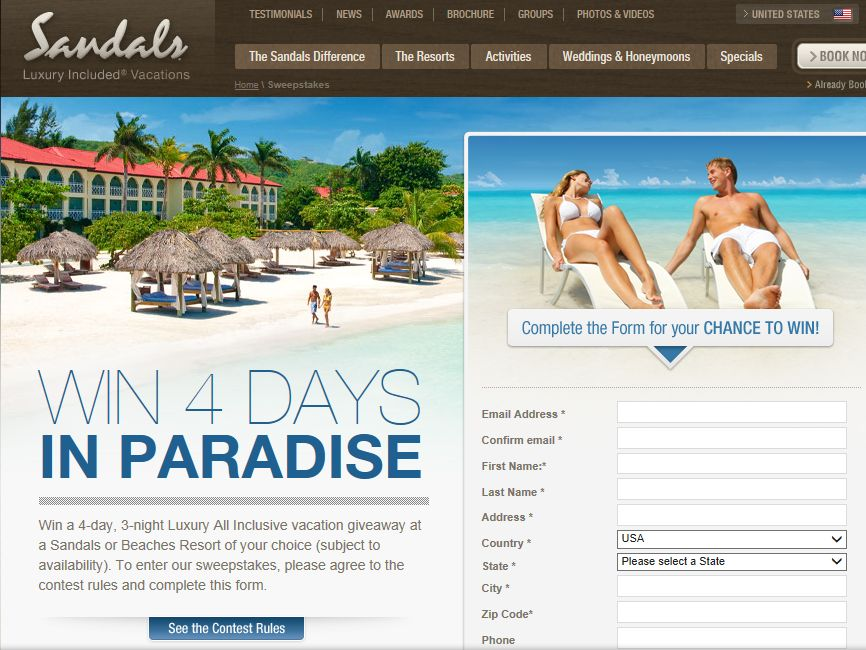 Sandals and Beaches Giveaway Q3, 2013 Sweepstakes