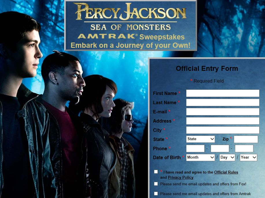 Percy Jackson: Sea of Monsters Sweepstakes