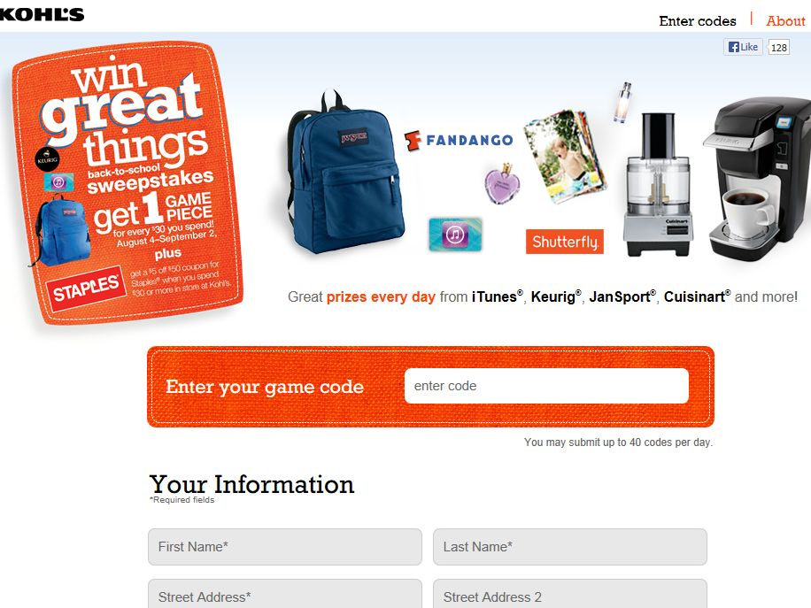 Instant win sweepstakes about