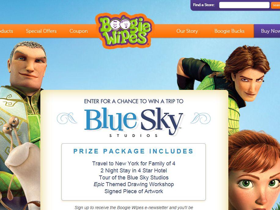Epic Trip to Blue Sky Studios Sweepstakes