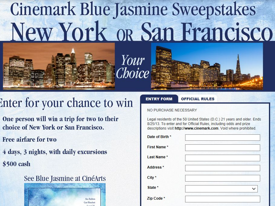 Cinemark Blue Jasmine Sweepstakes