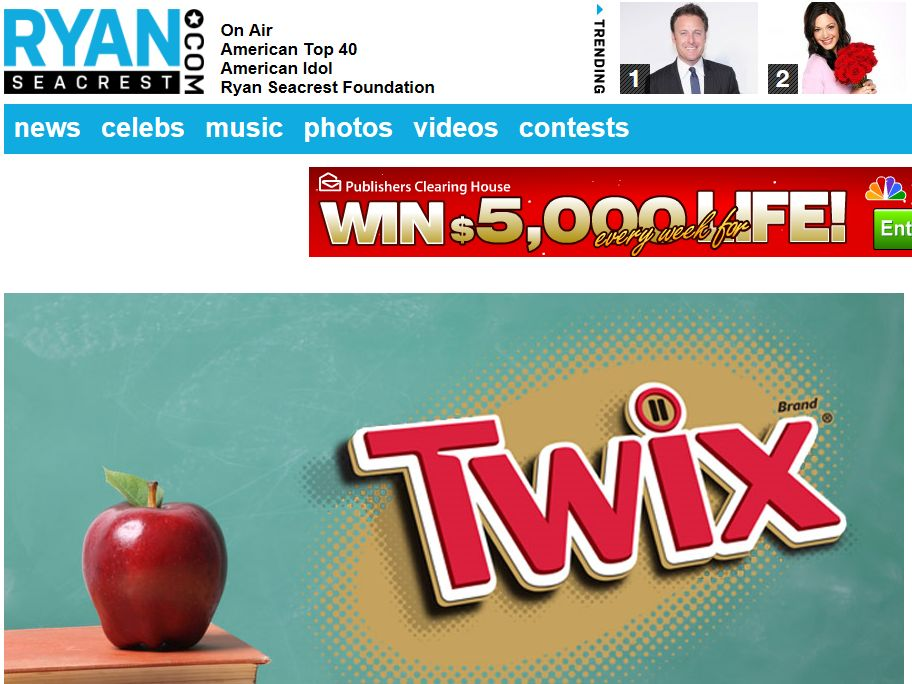 Ryan Seacrest's TWIX Back To School Sweepstakes