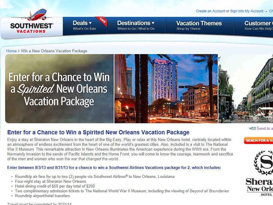 Spirited New Orleans Vacation Package Sweepstakes