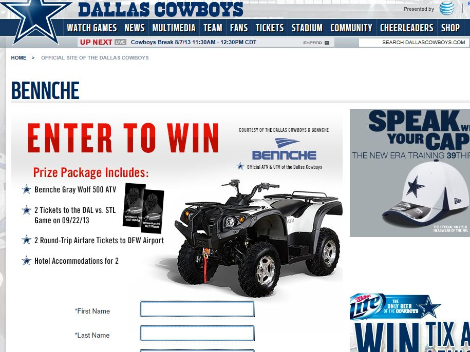 Dallas Cowboys and Bennche Sweepstakes