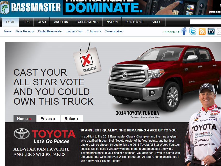 Toyota All-Star Fan Favorite Angler Sweepstakes