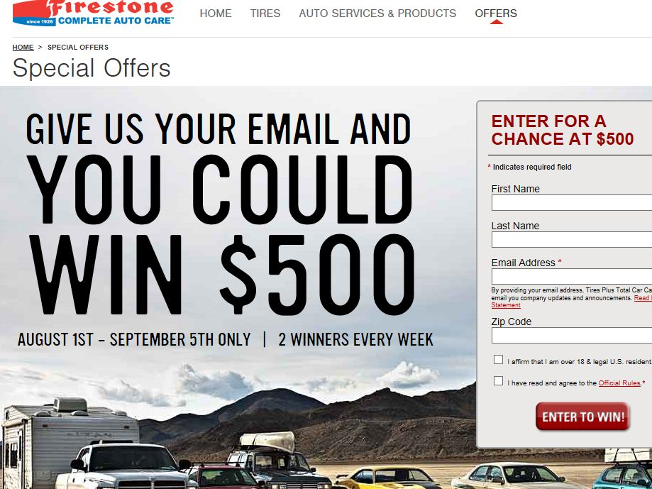 2013 Firestone Email Sweepstakes