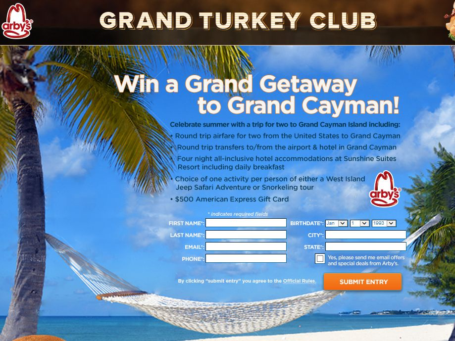 Arby's Grand Club Getaway Sweepstakes