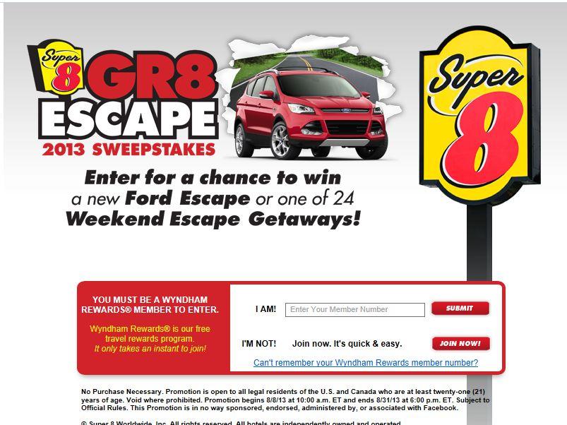 Super 8 Gr8 Escape 2013 Sweepstakes