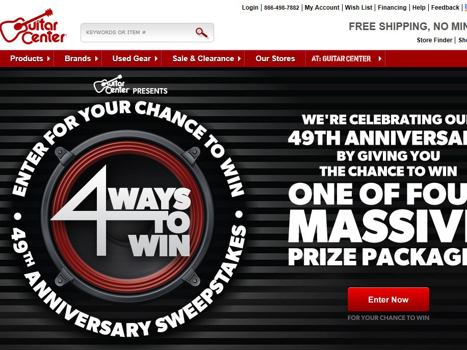 Guitar Center's 49th Anniversary Four Ways to Win Sweepstakes